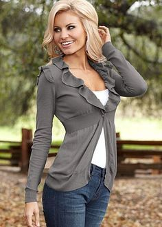 Ruffle trimmed cotton cardigan with banded high waist in dark grey by Venus. Great shoulder design for a pear-shaped figure.