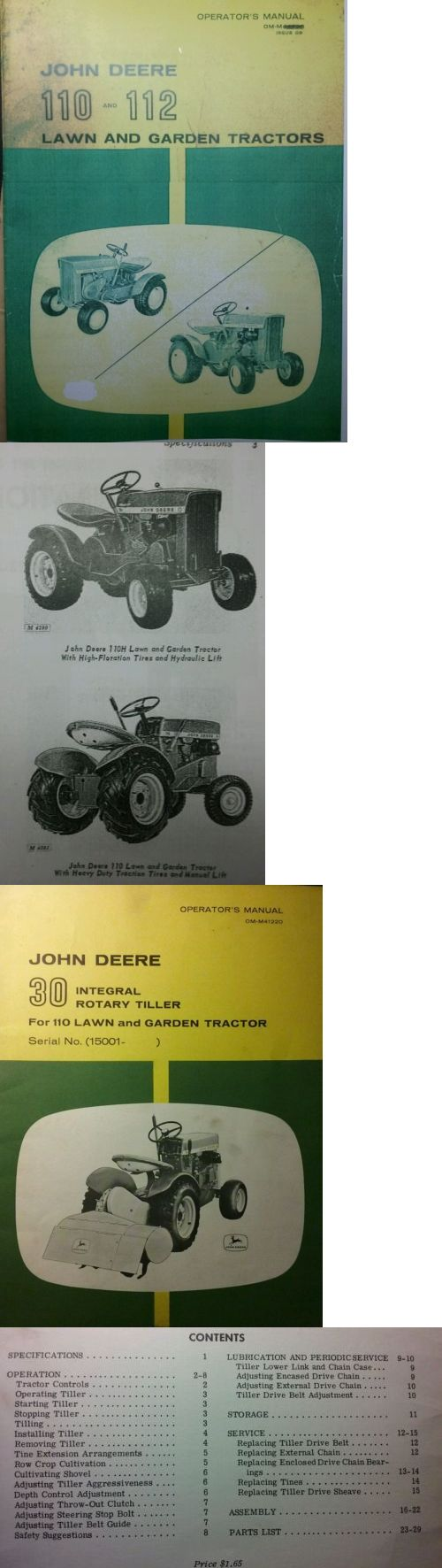 Manuals And Guides 42229: John Deere 110 112 Round Fender Garden Tractor  And 30 Tiller