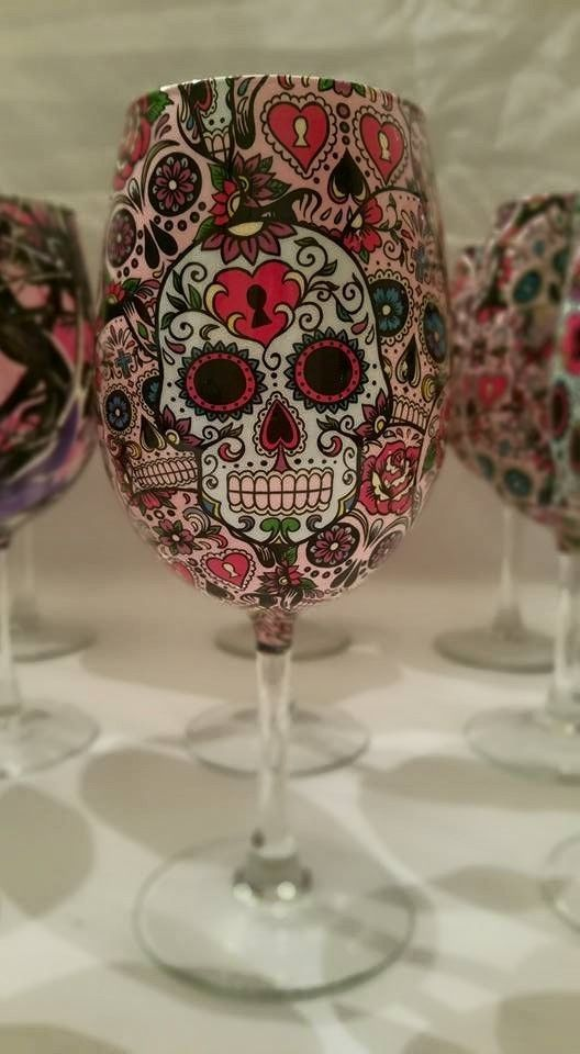 Custom Sugar skull Wine Glasses #WineGlasses