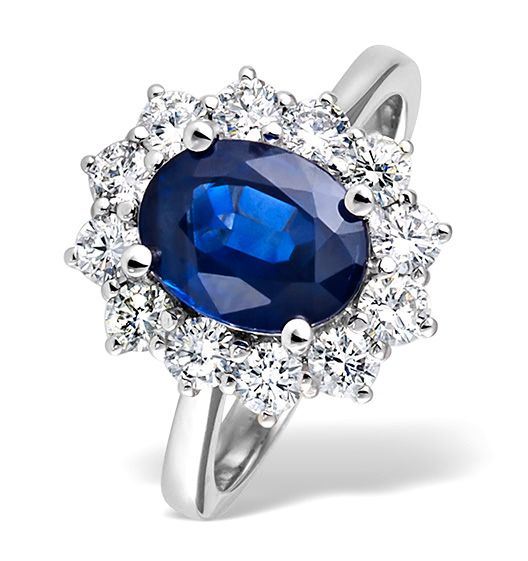 Engagement Rings made of White Gold with Blue Sapphire | General ...