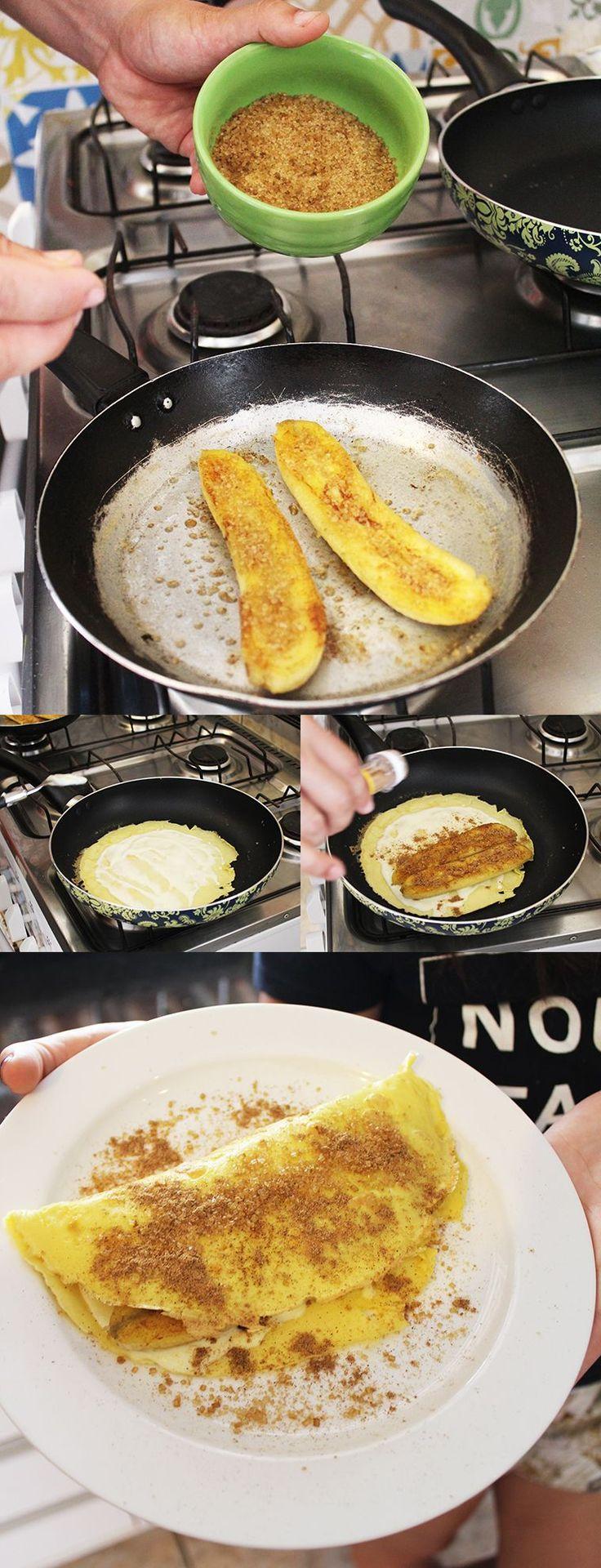 Crepioca de banana assada com açúcar demerara e canela