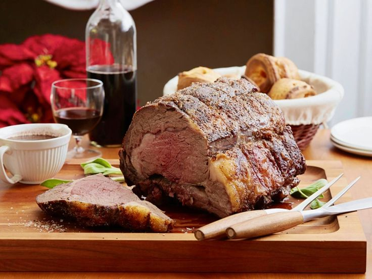 Dry-Aged Standing Rib Roast with Sage Jus recipe from Alton Brown via Food Network