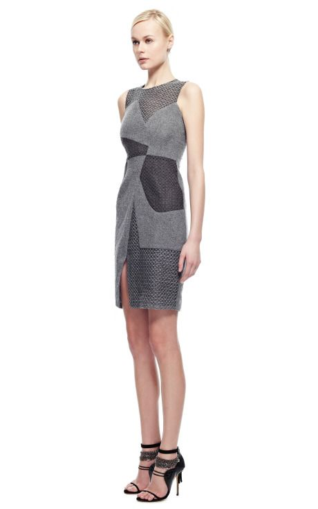Angular Seam Embroidered Boucle Sheath Dress by Prabal Gurung for Preorder on Moda Operandi