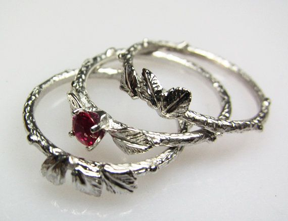 Ruby Eco-Engagement Ring w/ Wedding Bands by FernandoJewelry