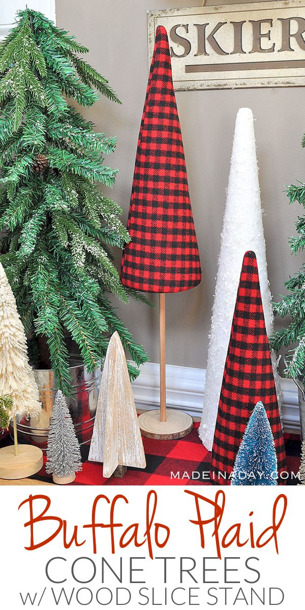 Red Buffalo Check / Plaid Christmas Forest with Cone Tree Stand tutorial, sisal tree, glitter bottle brush tree, woodland snow trees,