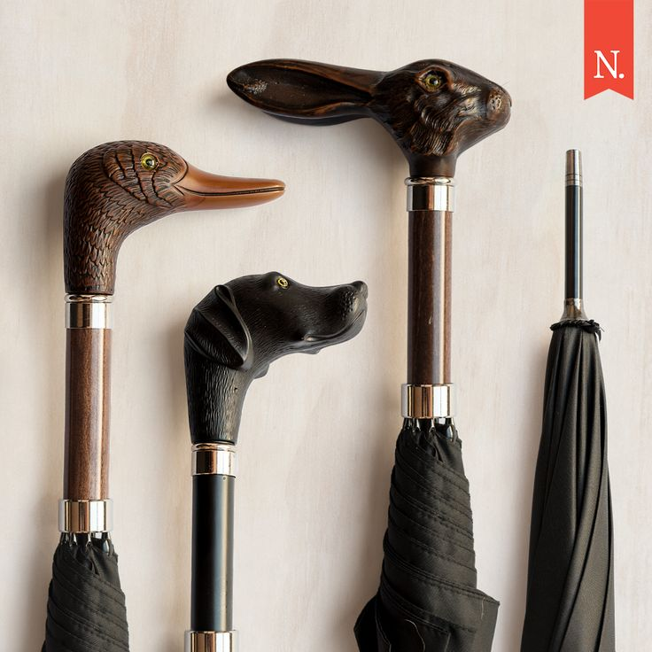 Meet Mallard, Scout and Jack!  Old world style meets today's umbrella from the skilled craftsmen at Concord Shear. Be warned: these could well inspire imitations of Gene Kelly dancing in torrential downpours. ☂