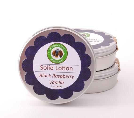 BLACK RASPBERRY VANILLA Solid Lotion Bar by HiddenValleyMilkSoap, $6.50