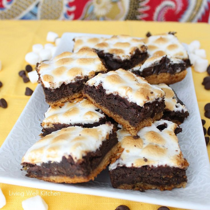 Healthier S'mores Brownies - under 150 calories each!! from Living ...