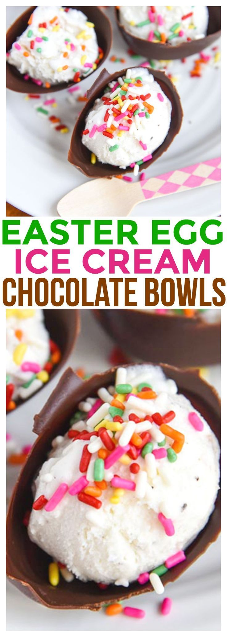 eastKid Friendly Recipe DIY Easter Egg Ice Cream Chocolate Bowls are so much fun for kids to not only make but to eat too! Edible Chocolate Bowls DIY Dessert Recipe.    via @CourtneysSweets