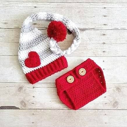 Crochet Baby Valentine's Day Hat Beanie Stocking Cap Diaper Cover Set Striped Heart Infant Newborn Baby Toddler Child Adult Handmade Photography Photo Prop Baby Shower Gift Present
