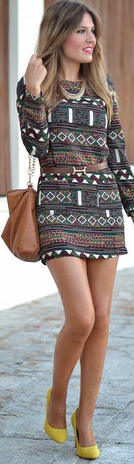 Sheinside Brown Multi Tribal Geo Pattern Long Sleeve Straight Mini Dress by Mi Aventura Con La Moda
