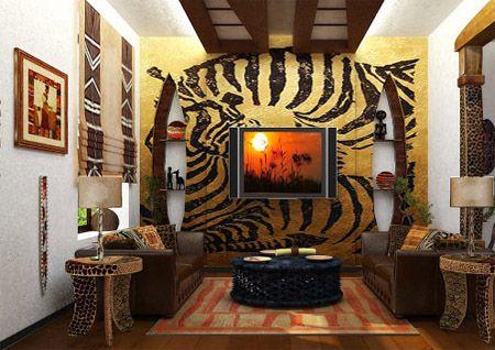 Рисунок шкуры зебры на стене