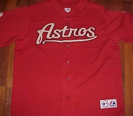 Houston Astros World Series 2005 MLB NL Majestic Brick Red Scripted Jersey XL #Majestic #HoustonAstros