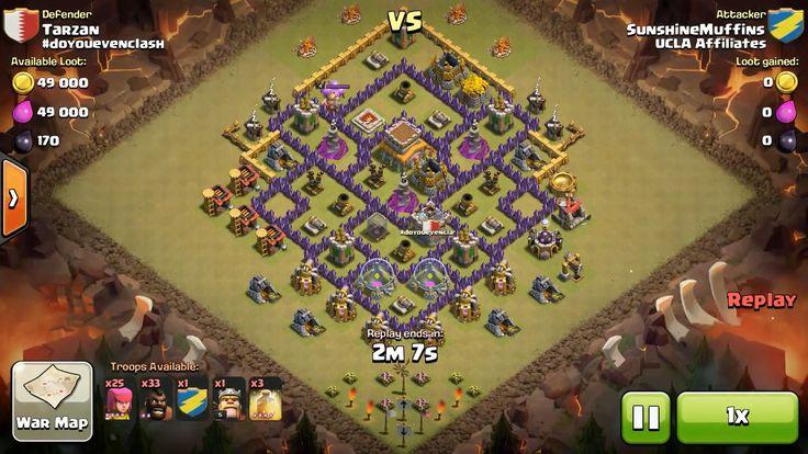 Attacker TH7: 25 Level 4 Archer, 33 Level 2 Hog Rider, 4 Level 5 Hog Rider, Level 5 Barbarian King, 3 Level 4 Healing Spell Defender TH8: Level 4 Barbarian King, Rank 9/20