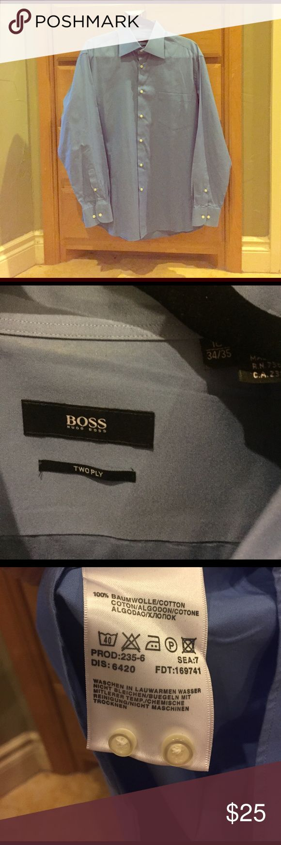 Hugo Boss Blue Dress Shirt - Size 16 34/35 Hugo Boss Dress Shirt - Size 16 34/35 Shirt is blue. 100% cotton. Machine washable. Gently used. Comes with two extra buttons. Hugo Boss Shirts Dress Shirts