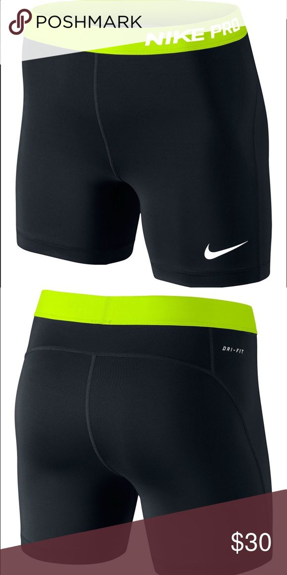 """Nike Pro 5 shorts Nike Pro 5 shorts with 5"""" inseam. In black/volt color. Nike Shorts"""