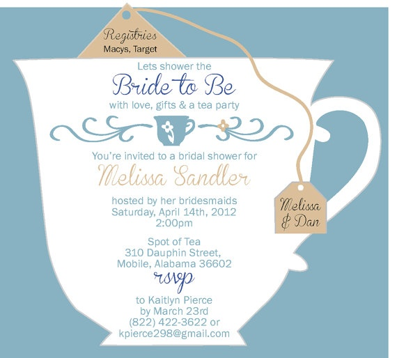 84 best Possible Tea Party Invitations images on Pinterest Tea - bridal shower invitation samples