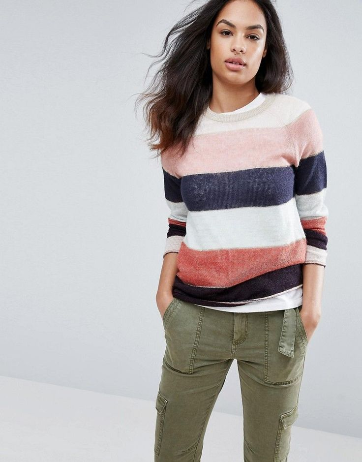 Get this Esprit's knit pullover now! Click for more details. Worldwide shipping. Espirit Wide Stripe Jumper - Multi: Jumper by Esprit, Soft-touch knit, Contrast stripe finish, Crew neck, Raglan sleeves, Rolled trims, Regular fit - true to size, Machine wash, 39% Acrylic, 32% Polyester, 19% Wool, 5% Mohair Wool, 5% Metallised Fibres, Our model wears a UK S/EU S/US XS and is 175cm/5'9 tall. From its bohemian beginnings in �60s San Francisco, Esprit has risen to iconic status, becoming…