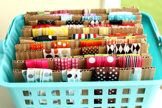 Ribbons and Trims wrapped around cut pieces of cardboard and put in a dollar store basket.  Lovely!