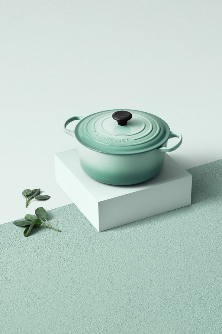 le creuset french oven in sage flat color palette design concept design le creuset french oven in sage flat