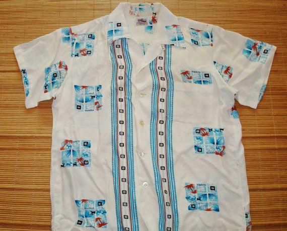 Mens Vintage 50s Duke Kahanamoku Rayon Hawaiian Shirt by thehanashirtco, $144.85