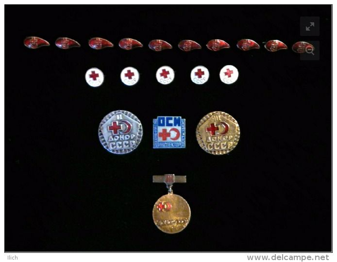 Red Cross and Red Crescent. Donor of the USSR. Quantity: 19 pcs. Good condition. The second half of the twentieth century