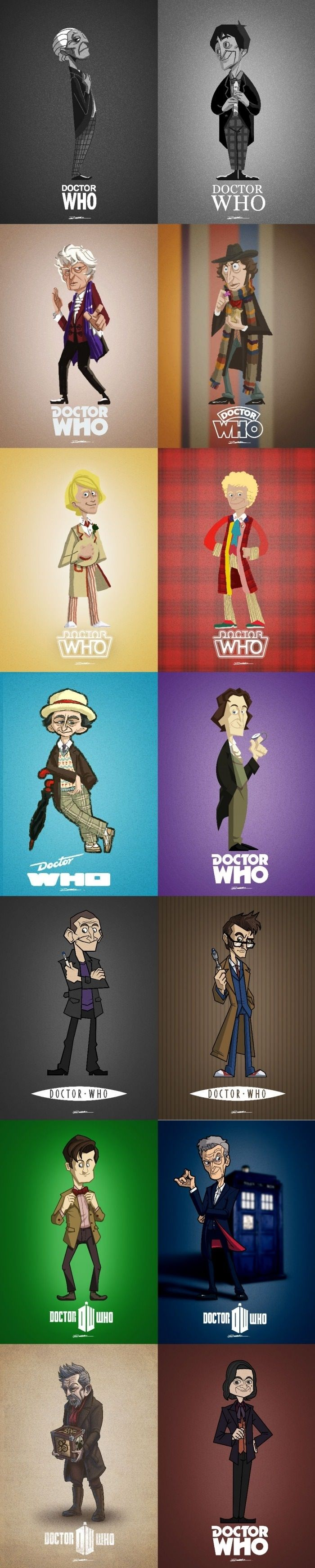 Dr Who cartoon style. Except that last one can just not be included. Doesn't count.