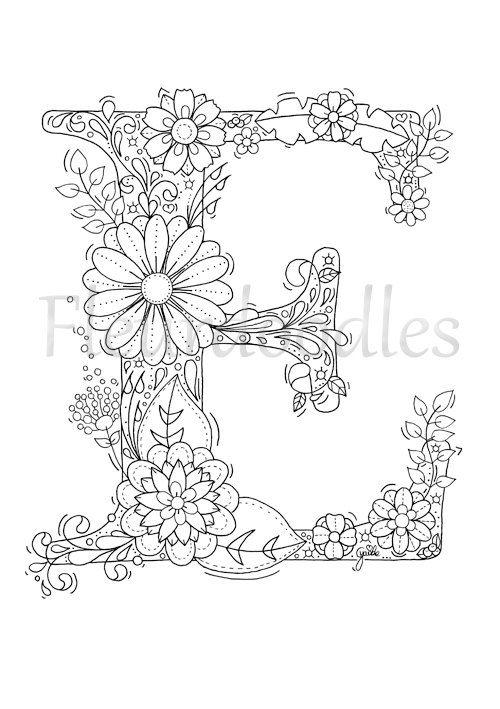 Malseite zum Ausdrucken Buchstabe E floral von
