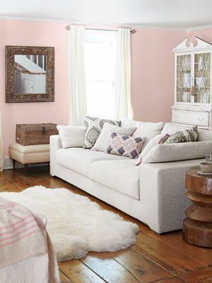 cute pink livingroom.: Tracy Reese, Living Rooms, Idea, Paint Finish, Pink Walls, Livingroom, Country Living, Pink Living Room, Room Design