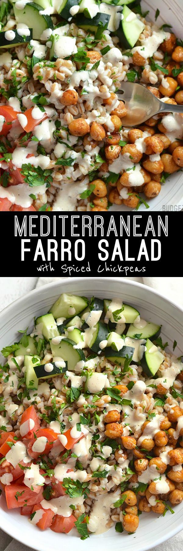 This Mediterranean Farro Salad with Spiced Chickpeas is packed with flavor, texture, and nutrients (and no animal products!).
