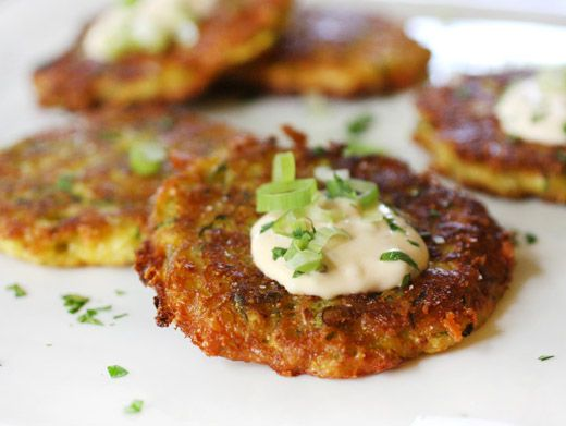 Cauliflower and/or Zucchini Galettes with Chipotle Creme Fraiche