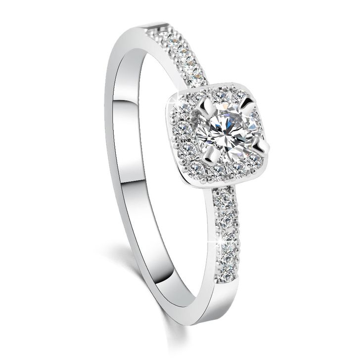 Стильные мода темперамент Корейский циркон кристалл кольцо золотое покрытие all-матч квадратные кольца женский анти аллергия S1074