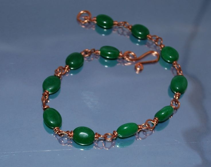 Delicate Copper And Green Mountain Jade Bracelet by IacobJewelry on Etsy