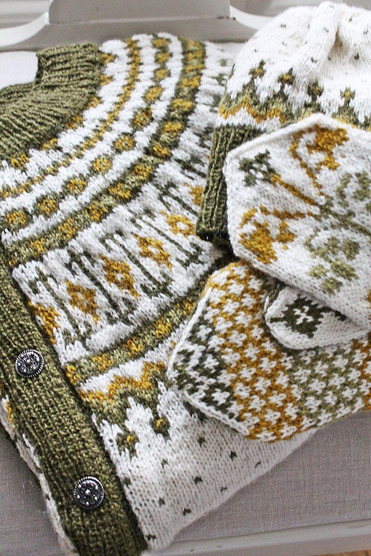 Norwegian cardigan and mittens.