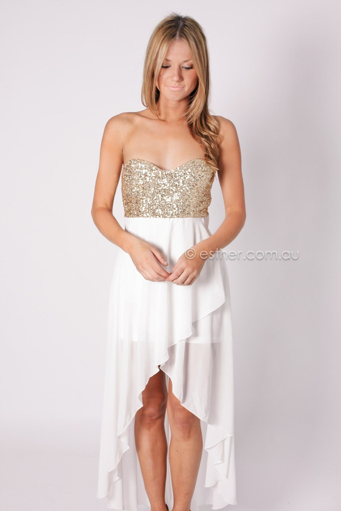 white/gold sequin party dress VIVIAN STRAPLESS COCKTAIL DRESS - WHITE