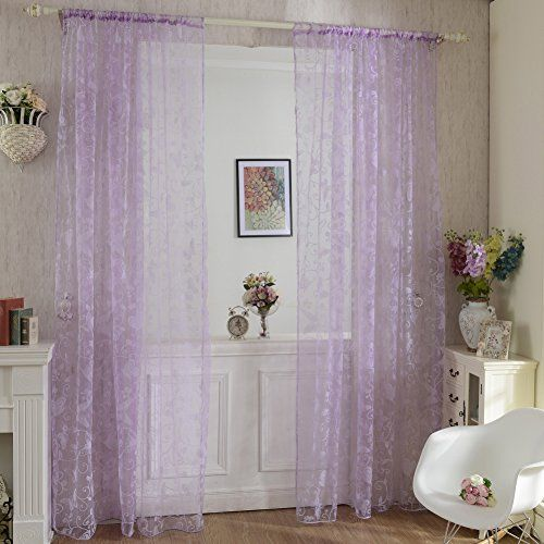 Norbi Window Balcony Curtain Sheer Voile Tulle Decor Curtain Butterfly Purple * Want additional info? Click on the image.