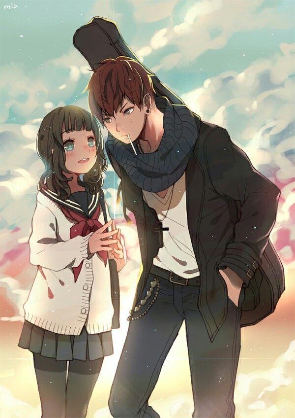 anime manga boy and girl: A High School Girl And Musician.