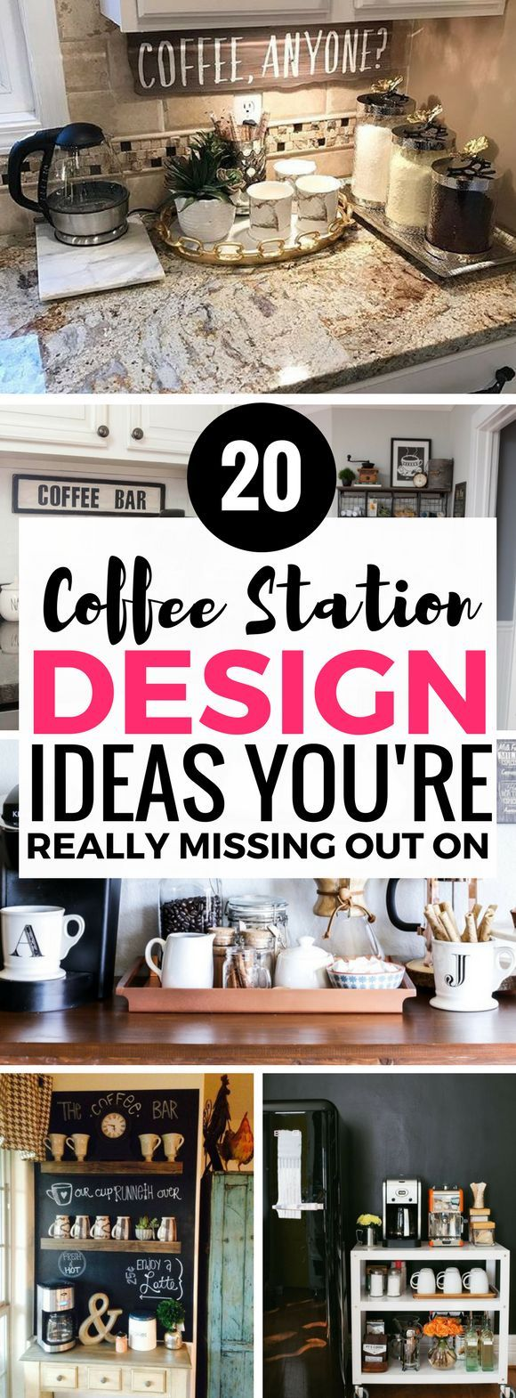I'm so IN LOVE with these diy coffee station ideas. They all look so AMAZING. Definitely going to do this. So many fantastic ways to make the kitchen and home decor look great with these coffee bar ideas!