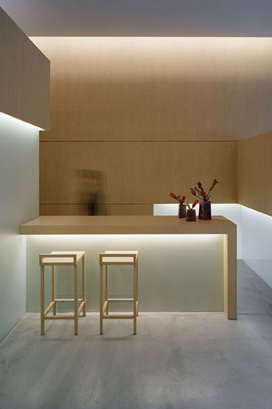 Asta Aveda | WORKS - CURIOSITY - キュリオシティ I am not sure I could live happily with such extreme minimalism, but I sure do admire it. This kitchen is over the top. the special lighting really makes the room come alive.