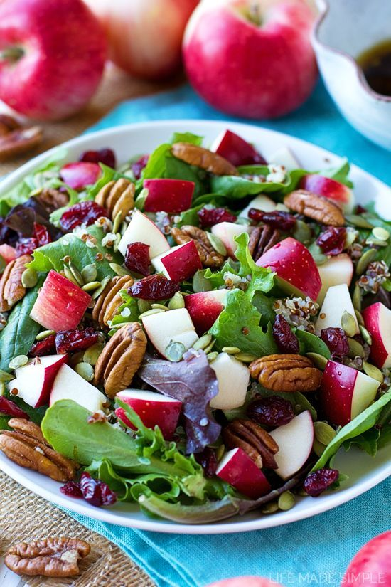 Light, healthy and packed full of fiber and protein, this apple harvest salad is perfect for lunch or dinner. Fall has never tasted so fresh!