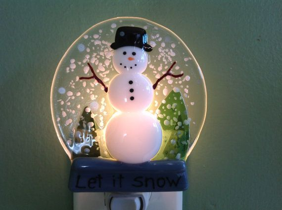 Snow Globe Winter Snowman Night Light Nite Light by LaGlasSea