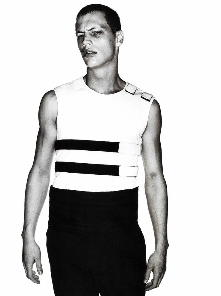 prominent-nipple:  Arena  Homme + #9Ryan Locke wearing padded gilet with velcro straps Helmut Lang SS98Ph. Marc Hom