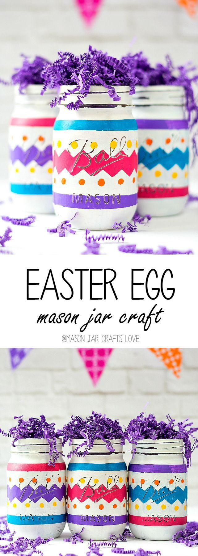 Easter Egg Mason Jar Craft | Pretty painted jars for spring DiY and crafting