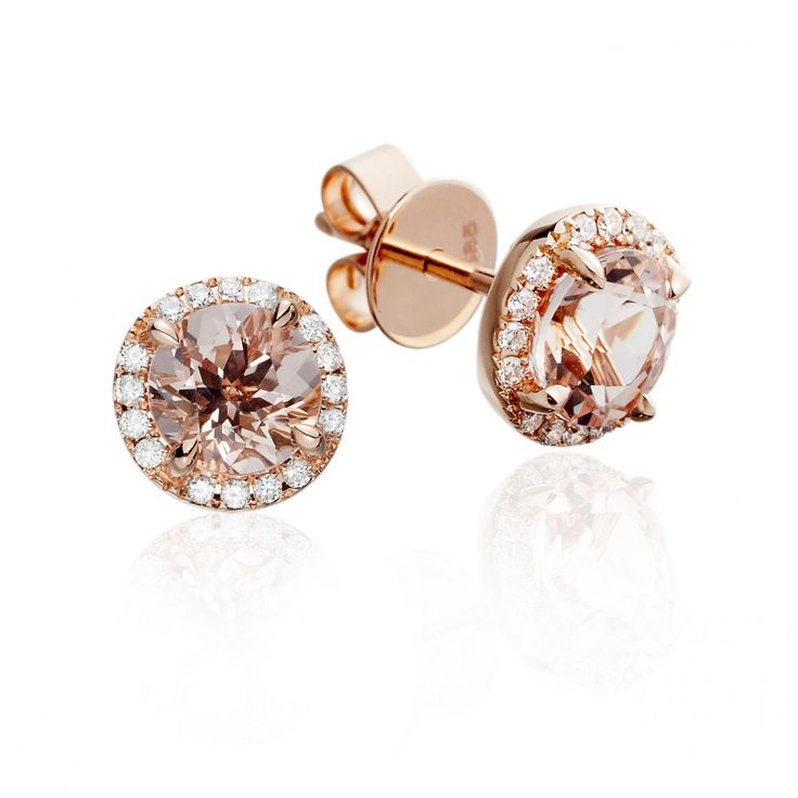 Morganite stud earrings with diamond surround, in 14 carat rose gold.