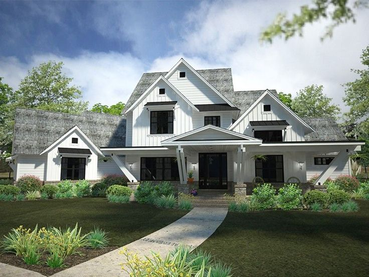 Farmhouse House Plan with 4839 Square Feet and 4 Bedrooms from Dream Home Source | House Plan Code DHSW078097