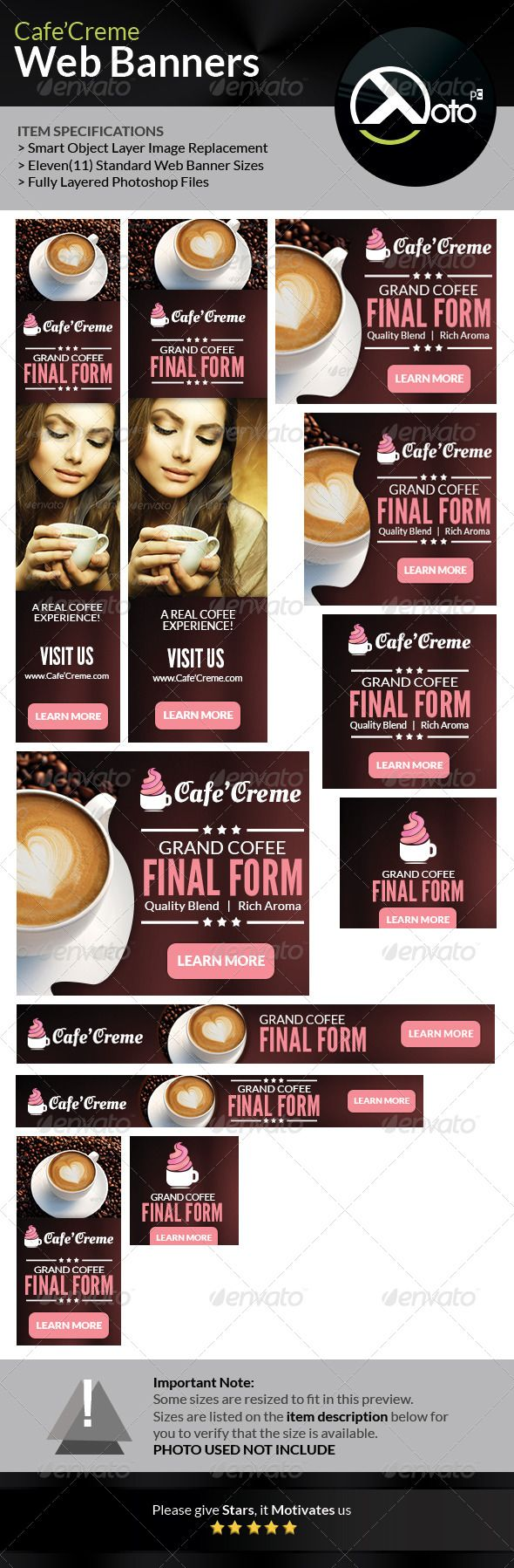 Cafe Creme Coffee Store Web Banners