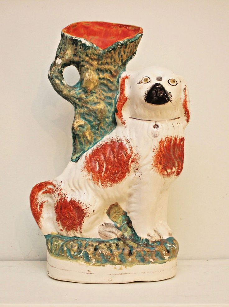 A Large Early c19th Antique Staffordshire Dog Spill Vase, Russet & White 1 of 2