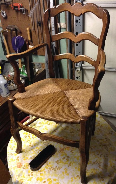 Classic French Country Arm Chair with artificial rush seat.