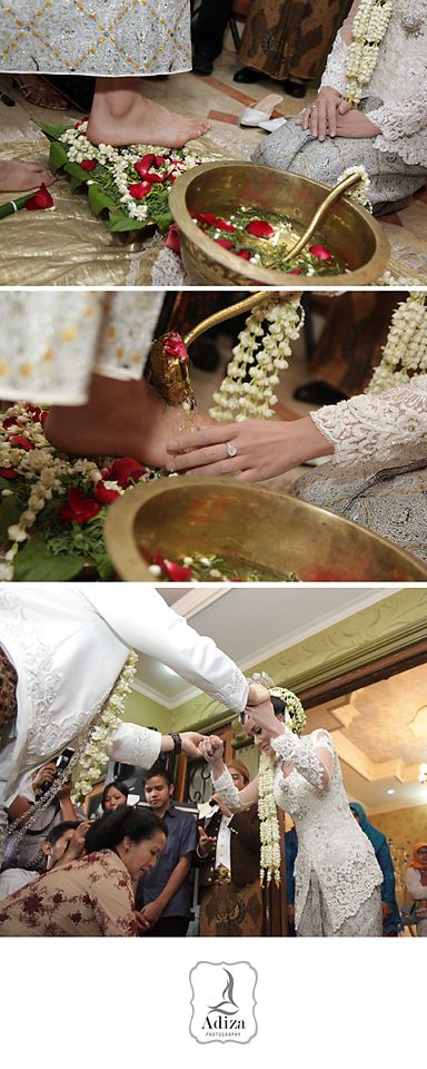 Groom step the egg and then bride wash groom's foot. Groom help bride to stand up. It's a symbol that the bride ready to serve groom as a wife and husband.