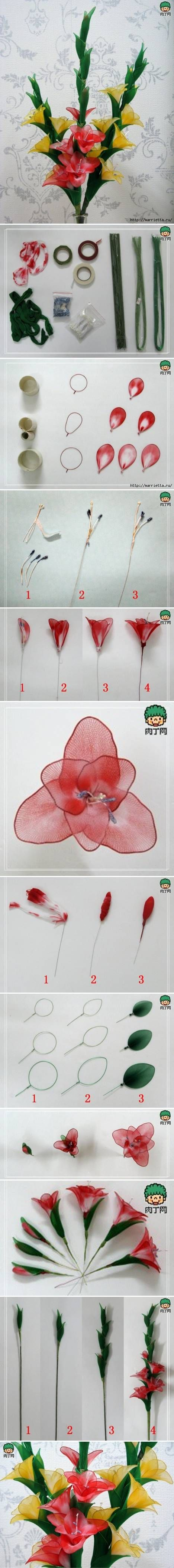 DIY Nylon Galdiolus Flower: